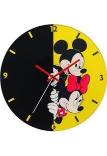 Relógio De Parede Em Vidro Redondo Mickey E Minnie 30Cm Amarelo E Preto