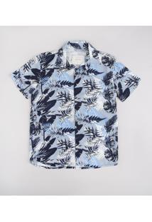 Camisa Infantil Estampada De Folhagem Manga Curta Azul