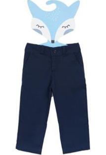 Calça Fredie Mon Petit Sarja Ancora Menino - Masculino-Azul Escuro