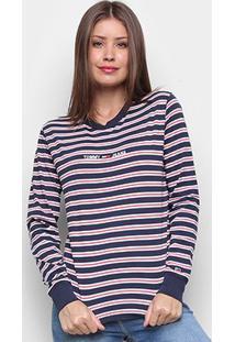 Camiseta Tommy Jeans Tjw Multistripe Logo Longsleeve Manga Longa Feminina - Feminino-Listrado