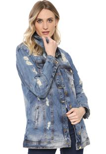 Jaqueta Jeans Dimy Over Destroyed Azul