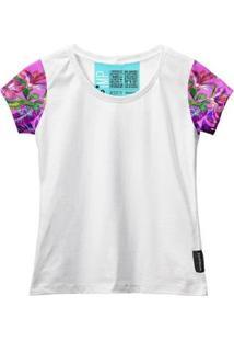 Camiseta Baby Look Feminina Algodão Estampa Flor Conforto - Feminino-Rosa+Branco
