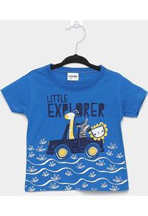 Camiseta Infantil Fakini Little Explorer Masculina - Masculino-Azul