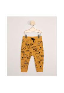 Calça De Moletom Infantil Estampada Cachorrinhos Amarela