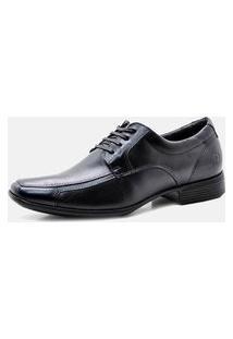 Sapato Social Pipper Confortável Com Cadarço Leve E Macio Couro Preto