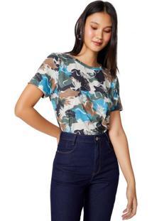 Amaro Feminino T-Shirt Ampla Estampada, Camo Wild