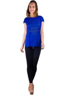 Camiseta Banna Hanna Recorte Frontal Com Silk Feminina - Feminino-Azul