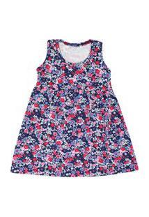 Vestido Infantil Regata Cotton Azul Marinho Floral (1/2/3) - Kappes - Tamanho 2 - Azul Marinho