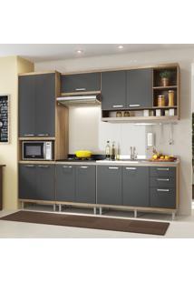 Cozinha Completa 11 Portas 3 Gavetas Sicilia 5808 Argila/Grafite Premium - Multimóveis