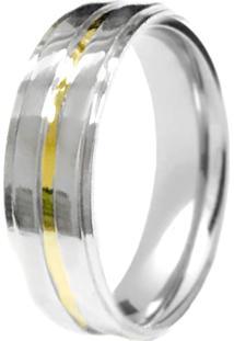Aliança Prata Mil Anatômica Reta De Prata C/ Filete De Ouro Prata
