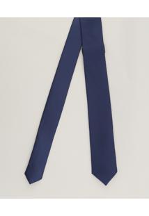 Gravata Masculina Slim Acetinada Azul Marinho - Único