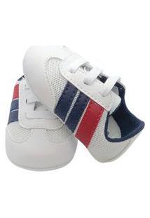 Sapatinho De Bebê Menino Macio E Confortável Pdk Kids Tênis Bebê Chute Bebê Branco C/ Tiras Marinho E Vermelho