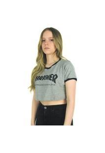 Camiseta Crop Thrasher Magazine Skate Mag Cinza Multicolorido