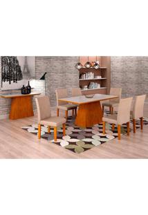 Conjunto De Mesa De Jantar Luna Com 6 Cadeiras Ane I Veludo Imbuia, Branco E Creme