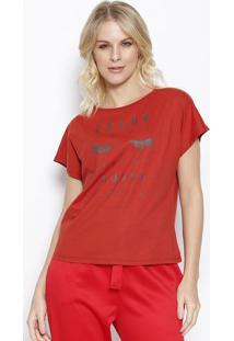 "Camiseta ""Feche Seus Olhos"" - Vermelha & Preta - Somsommer"