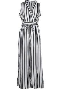 Macacão Pantacourt Listrado Feminino Lily Fashion