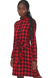 Vestido De Inverno Gap Curto Xadrez Com Faixa Vermelho/Preto - Vermelho - Feminino - Algodã£O - Dafiti