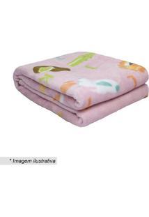 Cobertor Baby Abc- Rosa Claro & Verde- 90X110Cm-Camesa