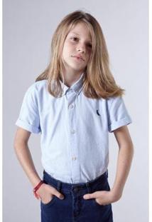 Camisa Masculina Infantil Mini Oxford Mc Reserva Mini - Masculino-Azul Claro