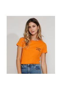 "Camiseta Feminina Manga Curta Bad Choices"" Decote Redondo Laranja"""