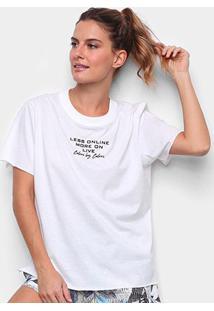 Camiseta Colcci Less Online Feminina - Feminino-Off White