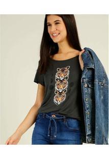 Camiseta Estampa Tigres Briard Manga Curta Feminina - Feminino-Cinza