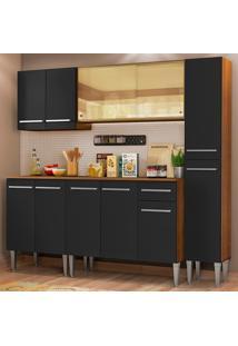 Cozinha Completa Madesa Emilly West Com Balcão, Armário Vidro Reflex E Paneleiro - Rustic/Preto Marrom