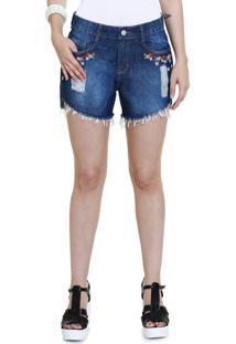 Short Feminino Jeans Bordado Floral Puídos Marisa