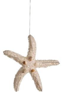 Enfeite De Estrela Do Mar Com Conchas- Branco & Begecromus