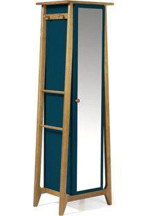 Sapateira Stoka Com Espelho Nogal E Azul Noite