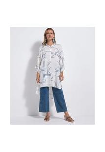 Camisa Alongada Em Viscose Com Estampa Geométrica | Marfinno | Branco | Gg
