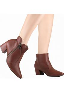 Bota Ankle Boot Piccadilly Maxitheraphy Cano Curto Marrom