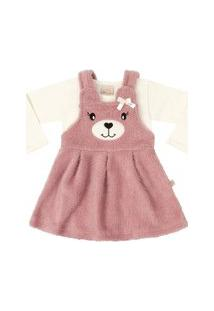 Vestido Time Kids Inverno Teddy Rosê/Cream