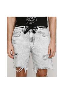 Bermuda Jeans Masculina Reta Destroyed Marmorizada Com Cordão Cinza