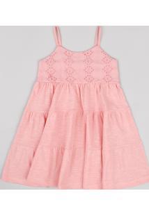 Vestido Infantil Com Recortes E Laise Alça Fina Coral