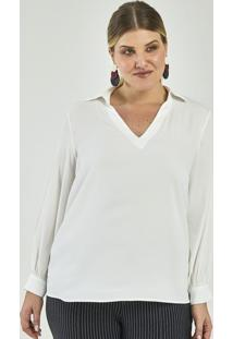 Blusa Lisa Com Gola V Curve & Plus Size