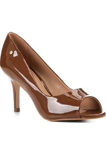 Peep Toe Shoestock Salto Médio Verniz Naked - Feminino-Avelã