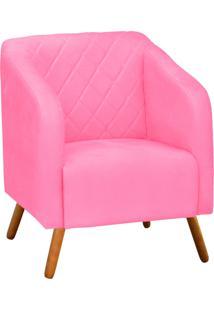 Poltrona Decorativa Silmara Suede Rosa Barbie Pés Palito - D'Rossi