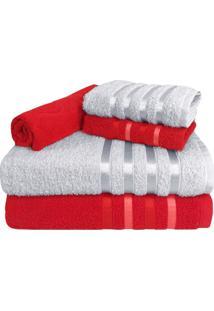 Jogo De Toalha 5 Peã§As Kit De Toalhas 2 Banho 2 Rosto 1 Piso Vermelha E Branca - Branco/Vermelho - Dafiti
