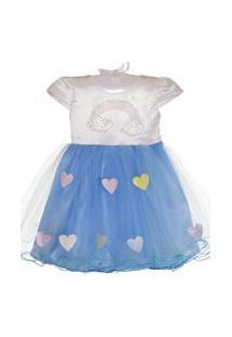 Vestido Cleusinha Chuva De Amor Branco/Azul