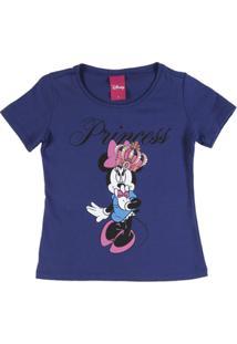 Camisata Infantil Disney Manga Curta - Feminino-Azul