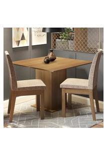 Conjunto Sala De Jantar Madesa Tatá Mesa Tampo De Madeira Com 2 Cadeiras Marrom
