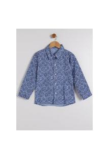 Camisa Manga Longa Estampada Infantil Para Menino- Azul