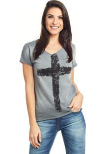 Camiseta Bossa Brasil Cruz Preto Spray - Cinza - Feminino - Algodã£O - Dafiti