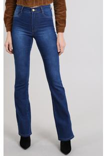 Calça Jeans Feminina Sawary Flare Azul Médio