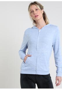 Blusão Feminino Esportivo Ace Em Moletom Com Capuz E Bolsos Azul Claro