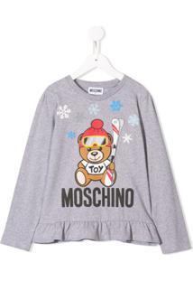 Moschino Kids Blusa Com Franzido E Estampa - Cinza