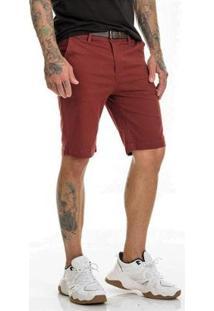 Bermuda Sarja Chino Premium Com Lycra Slim Fit Masculina - Masculino-Bordô