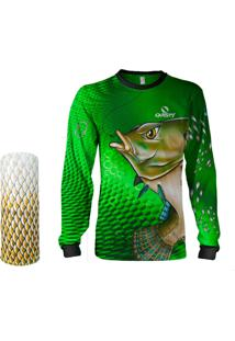 Camisa + Máscara Pesca Quisty Tilápia Bocuda Verde Proteção Uv Dryfit Infantil/Adulto - Camiseta De Pesca Quisty