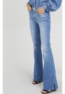 Calça Jeans Flare Mindset Com Fendas Azul Médio